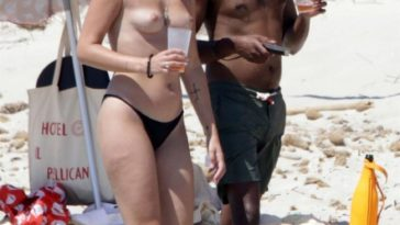 Topless Serena Skov Campbell Chilling on the Beach 16