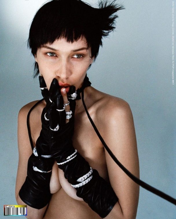 Bella Hadid Shows Boobs in a BDSM Photoshoot 12