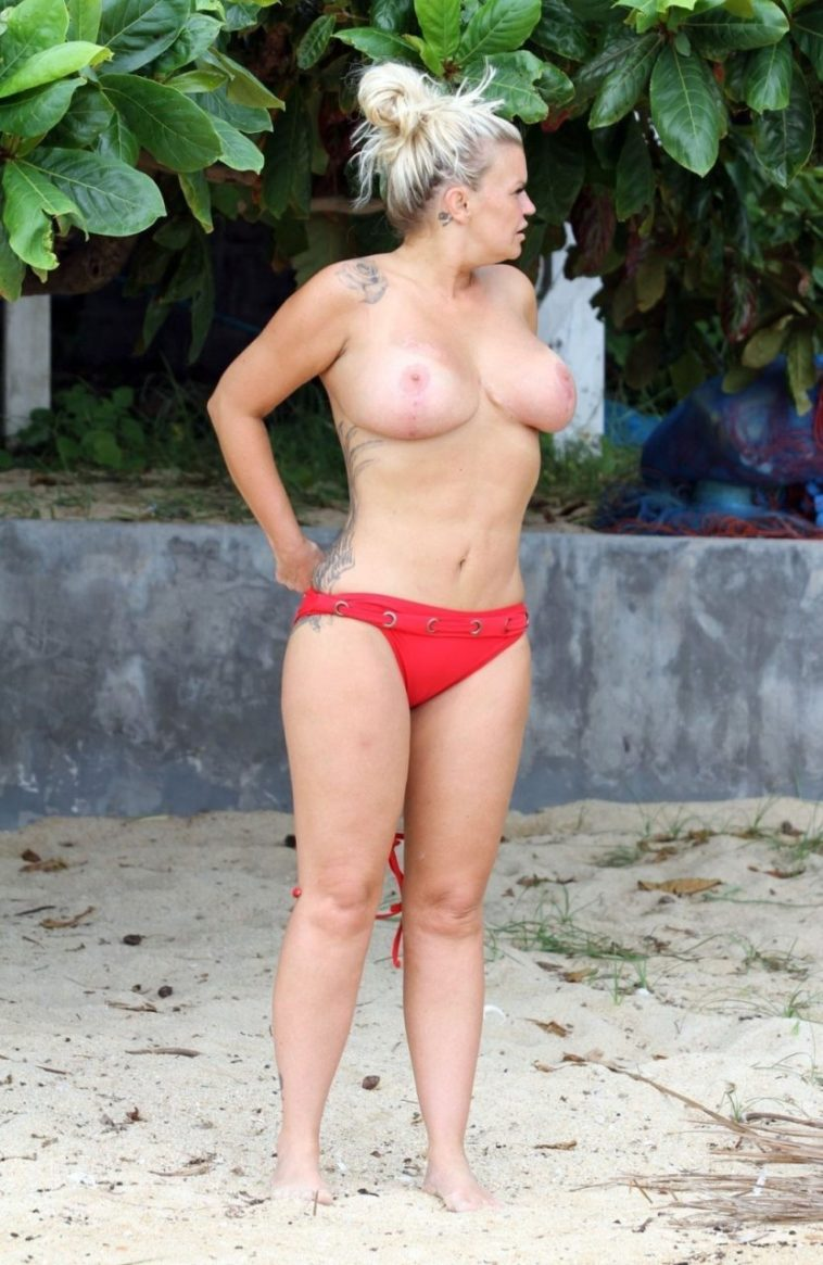 Disgusting Blonde Kerry Katona Shows Her Disgusting Tits 7
