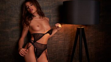 Skinny Brunette Chiara Bianchino Stripping for You 49