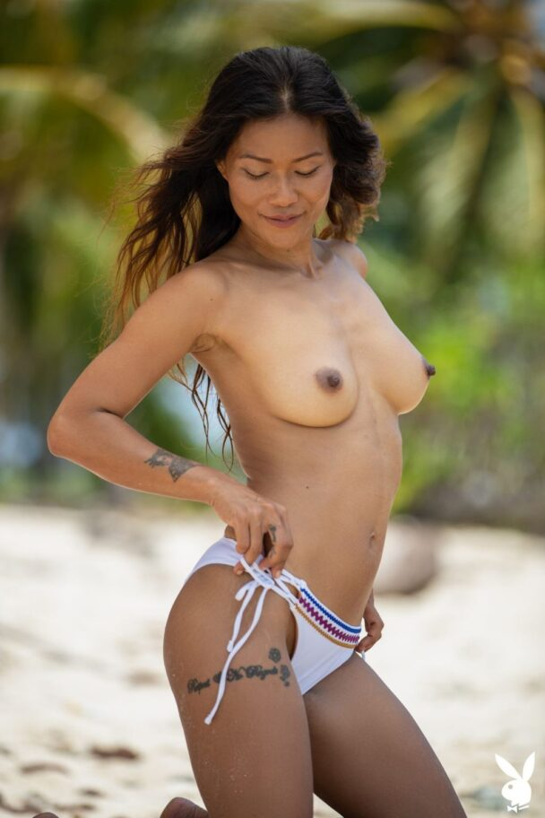 Asian MILF Maki Katana Strips on the Beach 4